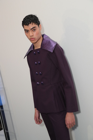 NEW YORK, NY - FEBRUARY 02: A model posing backstage at the Palomo Spain Collection during NYFW: Mens at the Cadillac House on February 2, 2017 in New York City. Editorial