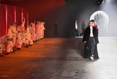 undone: NEW YORK, NY - FEBRUARY 01: Models walk at the Rochambeau  Runway  finale - NYFW: Mens at Skylight Clarkson North on February 1, 2017 in New York City.