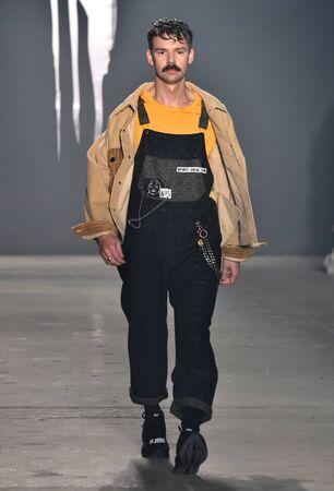mens fashion: NEW YORK, NY - FEBRUARY 01: A model walks the runway at Rochambeau - Runway - NYFW: Mens at Skylight Clarkson North on February 1, 2017 in New York City.