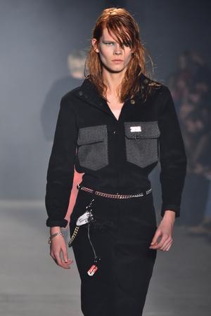 undone: NEW YORK, NY - FEBRUARY 01: A model walks the runway at Rochambeau - Runway - NYFW: Mens at Skylight Clarkson North on February 1, 2017 in New York City.