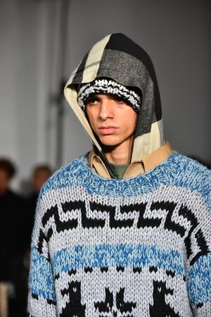 trouser: NEW YORK, NY - JANUARY 31: A model walks the runway wearing N. Hoolywood during NYFW: Mens on January 31, 2017 in New York City. Editorial