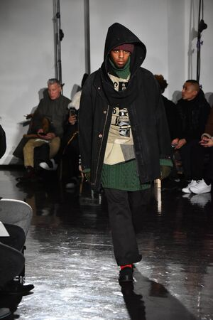 NEW YORK, NY - JANUARY 31: A model walks the runway wearing N. Hoolywood during NYFW: Mens on January 31, 2017 in New York City. Editorial