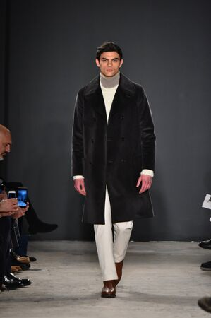 NEW YORK, NY - FEBRUARY 01: A model walks the runway during the Todd Snyder NYFW: Mens show at Skylight Clarkson North on February 1, 2017 in New York City. Editorial