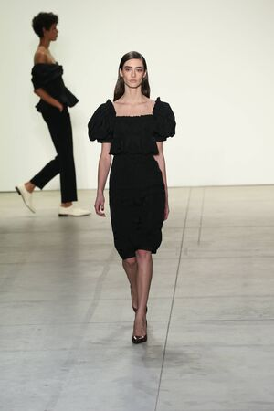NEW YORK, NY - FEBRUARY 09: A model walks the runway at Brock Collection Fashion Show during, New York Fashion Week on February 9, 2017 in New York City. Editorial