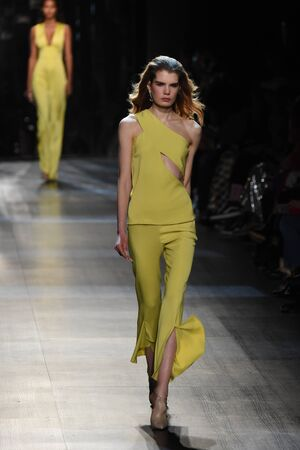 NEW YORK, NY - FEBRUARY 10: A model walks the runway for the Cushnie Et Ochs collection during, New York Fashion Week on February 10, 2017 in New York City. Editorial