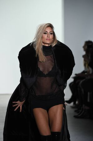 NEW YORK, NY - FEBRUARY 10: A model walks the runway for Hakan Akkaya collection during, New York Fashion Week  on February 10, 2017 in New York City. Editorial