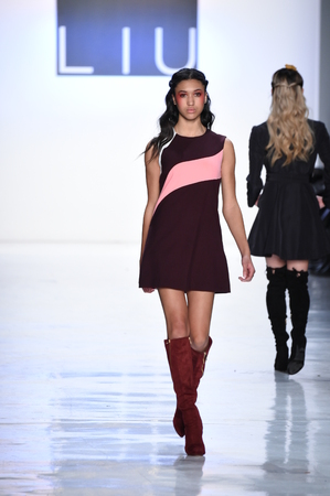 NEW YORK, NY - FEBRUARY 10: A model walks the runway for the Dan Liu collection during, New York Fashion Week on February 10, 2017 in New York City. Editorial
