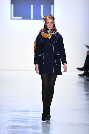 liu: NEW YORK, NY - FEBRUARY 10: A model walks the runway for the Dan Liu collection during, New York Fashion Week on February 10, 2017 in New York City. Editorial