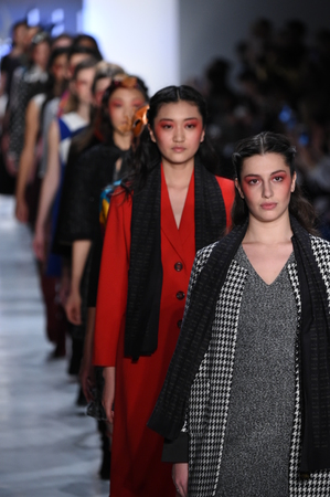 liu: NEW YORK, NY - FEBRUARY 10: Models walk the runway finale for the Dan Liu collection during, New York Fashion Week on February 10, 2017 in New York City.