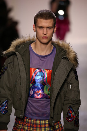 NEW YORK, NY - FEBRUARY 10: Zack Riddle walks the runway at the Jeremy Scott show during New York Fashion Week on February 10, 2017 in New York City.