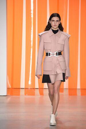 militaire sexy: NEW YORK, NY - 11 FEVRIER: Un modèle parcourt la piste de la collection Dion Lee lors de la New York Fashion Week le 11 février 2017 à New York.