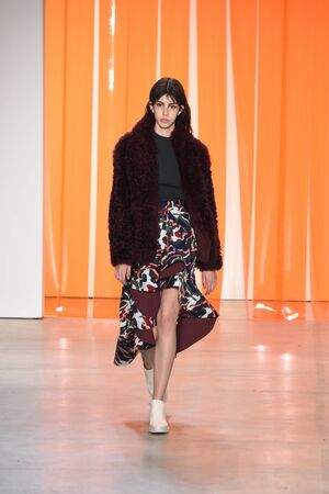 NEW YORK, NY - FEBRUARY 11: A model walks the runway for the Dion Lee collection during, New York Fashion Week on February 11, 2017 in New York City.