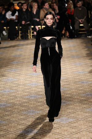 trouser: NEW YORK, NY - FEBRUARY 11: A model walks the runway for the Christian Siriano collection during, New York Fashion Week on February 11, 2017 in New York City.