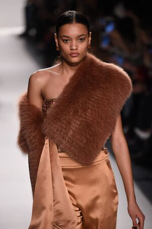 NEW YORK, NY - FEBRUARY 11: A model walks the runway for the Jonathan Simkhai collection during, New York Fashion Week on February 11, 2017 in New York City.