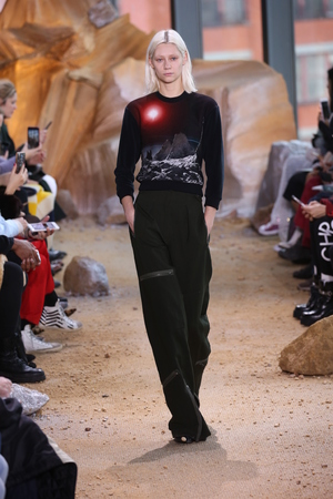 sweatshirt: NEW YORK, NY - FEBRUARY 11: A model walks the runway at Lacoste show during New York Fashion Week on February 11, 2017 in New York City. Editorial