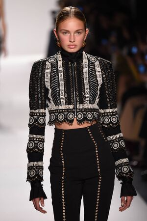 trouser: NEW YORK, NY - FEBRUARY 11: A model walks the runway for the Jonathan Simkhai collection during, New York Fashion Week on February 11, 2017 in New York City.