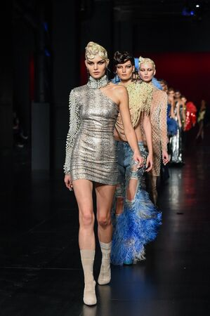 NEW YORK, NY - FEBRUARY 14: Models walk the runway finale during The Blonds February 2017 New York Fashion Week on February 14, 2017 in New York City. Editorial