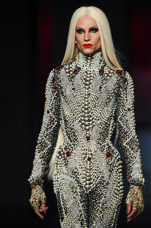 embellishment: NEW YORK, NY - FEBRUARY 14: Phillipe Blond  walks the runway during The Blonds February 2017 New York Fashion Week on February 14, 2017 in New York City.