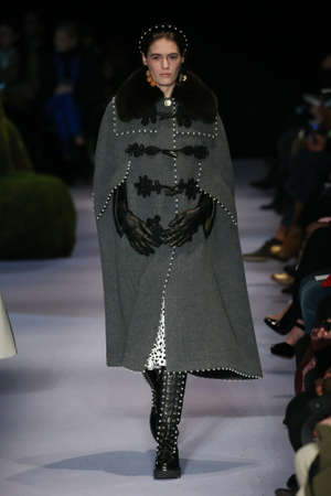 visone: NEW YORK, NY - FEBRUARY 12: A model walks the runway at the Altuzarra February 2017 fashion show on February 12, 2017 in New York City. Editoriali