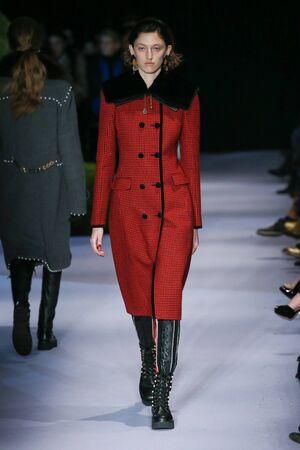 NEW YORK, NY - FEBRUARY 12: A model walks the runway at the Altuzarra February 2017 fashion show on February 12, 2017 in New York City. Editorial