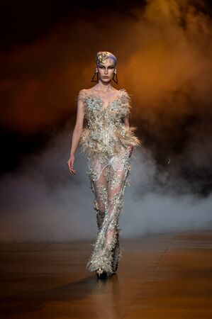 flashy: NEW YORK, NY - FEBRUARY 14: A model walks the runway during The Blonds February 2017 New York Fashion Week on February 14, 2017 in New York City. Editorial