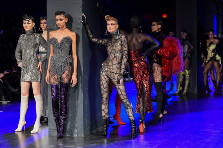 NEW YORK, NY - FEBRUARY 14: Models pose on  the runway during The Blonds February 2017 New York Fashion Week on February 14, 2017 in New York City.
