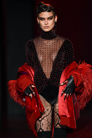 NEW YORK, NY - FEBRUARY 14: A model walks the runway during The Blonds February 2017 New York Fashion Week on February 14, 2017 in New York City. Editorial