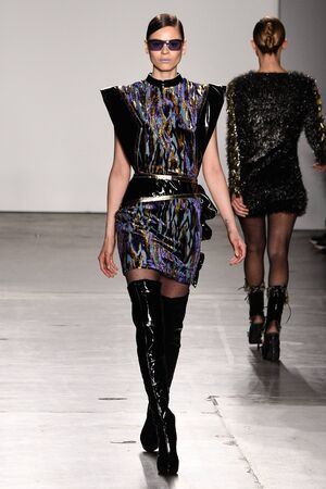 NEW YORK, NY - FEBRUARY 12: A Model walks the runway  at the Custo Barcelona show during the New York Fashion Week February 2017 collections on February 12, 2017 in New York City.