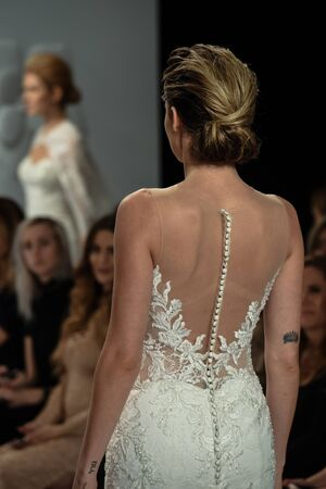 NEW YORK, NY - APRIL 20: A model walks the runway at the Randy Fenoli SpringSummer Bridal 2018 show at  Kleinfeld Hotel on April 20, 2017 in New York City.