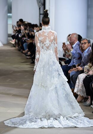 NEW YORK, NY - APRIL 21: A model walks the runway during the Ines di Santo SpringSummer 2018 bridal fashion show at The IAC Building on April 21, 2017 in New York City.