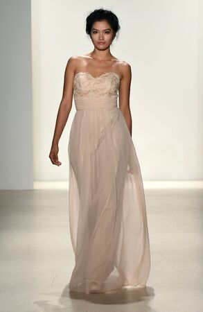 NEW YORK, NY - APRIL 20: A model walks the runway at the Kelly Faetanini SpringSummer Bridal 2018 show on April 20, 2017 in New York City.