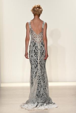 NEW YORK, NY - APRIL 20: A model walks the runway at the Kelly Faetanini Runway show, Spring 2018 season during New York Fashion Week: Bridal April 2017 at EZ Studios on April 20, 2017 in NYC.