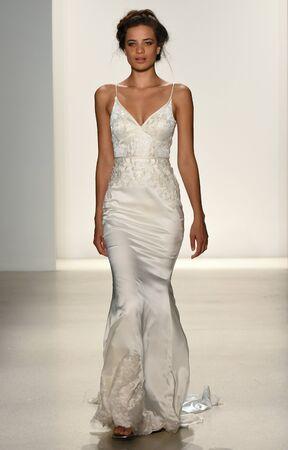 satin dress: NEW YORK, NY - APRIL 20: A model walks the runway at the Kelly Faetanini SpringSummer Bridal 2018 show on April 20, 2017 in New York City.