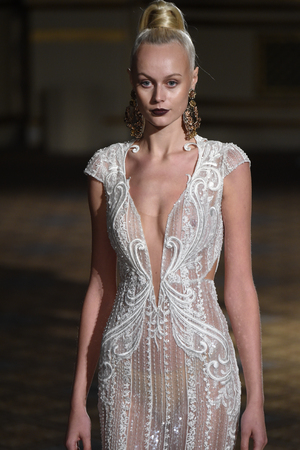 NEW YORK, NY - APRIL 21: A model walks the runway at the Berta Runway show during New York Fashion Week: Bridal April 2017 at The Plaza Hotel on April 21, 2017 in New York City.