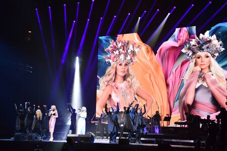entertainment center: BROOKLYN, NY - JUNE 03: Over ten thousands people attend the Viktor Drobysh 50th year birthday concert at Barclay Center on June 03, 2017 in Brooklyn NY.