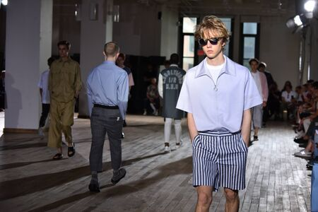 NEW YORK, NY - JULY 11: Models walk the runway finale during the N. Hoolywood Runway, NYFW: Mens July 2017 at West Edge on July 11, 2017 in New York City. Editorial