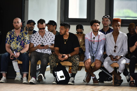 NEW YORK, NY - JULY 11: First row during the N. Hoolywood Runway, NYFW: Mens July 2017 at West Edge on July 11, 2017 in New York City.