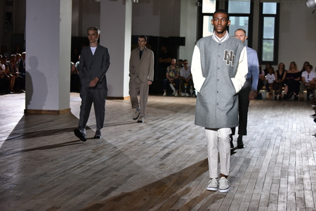 tailored: NEW YORK, NY - JULY 11: Models walk the runway finale during the N. Hoolywood Runway, NYFW: Mens July 2017 at West Edge on July 11, 2017 in New York City. Editorial