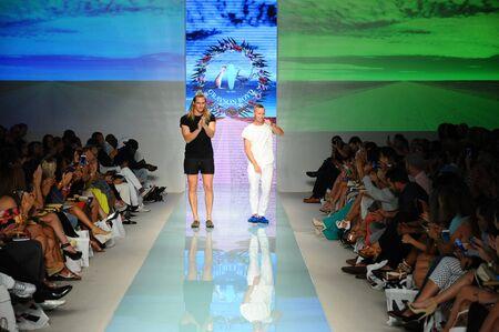 MIAMI, FL - JULY 20: Sam Gray and Michael Boyd walks the runway during Grayson Boyd fashion show for Funkshion Miami Swim Week on July 20, 2017. Editorial