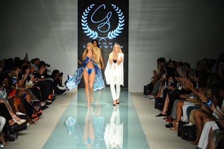 MIAMI, FL - JULY 20: Designer Solveig Cirone and model walks the runway during Cirone Swimwear fashion show for Funkshion Miami Swim Week on July 20, 2017. Editorial