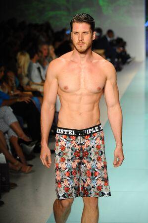 MIAMI, FL - JULY 20: A model walks the runway during Mr Tripple X  fashion show for Funkshion Miami Swim Week on July 20, 2017.