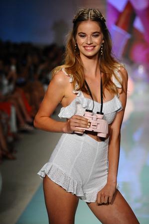 MIAMI BEACH, FL - JULY 21: A model walks the runway at the Lolli Swim fashion show during Funkshion Swim Fashion Week at Funkshion Tent on July 21, 2017 in Miami Beach, Florida.