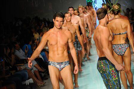 MIAMI, FL - JULY 20: Models walk the runway finale during Mr Tripple X  fashion show for Funkshion Miami Swim Week on July 20, 2017.