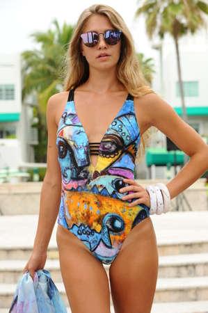 MIAMI BEACH, FL - JULY 22: A model walks the runway at Karo Swimwear fashion show during Miami Splash : Dive Into Fashion V Swimwear Showcase on July 22, 2017 in Miami Beach, Florida.