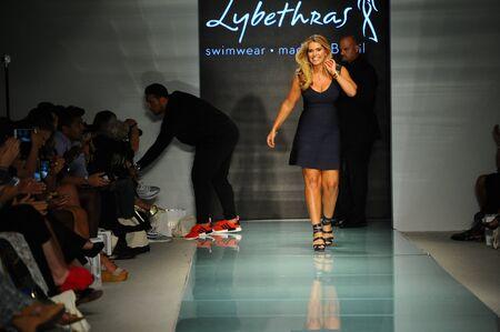 MIAMI BEACH, FL - JULY 23: Designer Luciana Martinez walks the runway during  Lybethras Runway at Funkshion Swim Fashion Week on July 23, 2017 in Miami Beach, Florida. Editorial