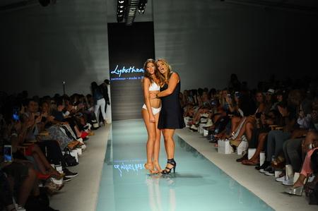 MIAMI BEACH, FL - JULY 23: Designer Luciana Martinez and model walk the runway during  Lybethras Runway at Funkshion Swim Fashion Week on July 23, 2017 in Miami Beach, Florida. Editorial
