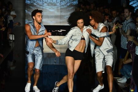 voluminous: NEW YORK, NY - JULY 12:dancers perform on the runway at the Matiere show during NYFW: Mens  on July 12, 2017 in New York City.