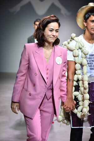NEW YORK, NY - JULY 12: Designer Barbara Sanchez-Kane and model walks the runway at the Sanchez-Kane show during NYFW: Mens on July 12, 2017 in New York City.
