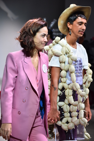 tailored: NEW YORK, NY - JULY 12: Designer Barbara Sanchez-Kane and model walks the runway at the Sanchez-Kane show during NYFW: Mens on July 12, 2017 in New York City.