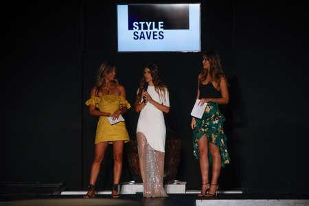 MIAMI, FL - JULY 21: Rocky Barnes, Paulina Vega, DJ YSL on the runway at the 7th annual  Style Saves Swim Fashion Show in Setai Hotel on July 21, 2017 in Miami Beach, Florida. Editorial